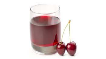 Tart Cherry Benefits -- glass of cherry juice and two tart cherries