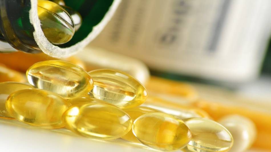 DHA and EPA Levels in Fish Oil -- close-up of fish oil capsules