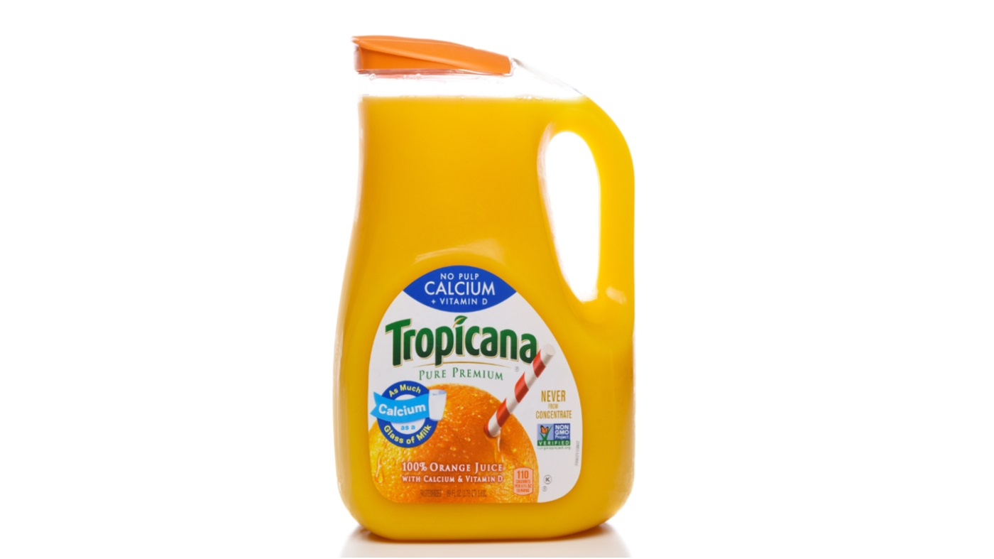Calcium-Fortified Foods & Supplements -- bottle of calcium-fortified orange juice
