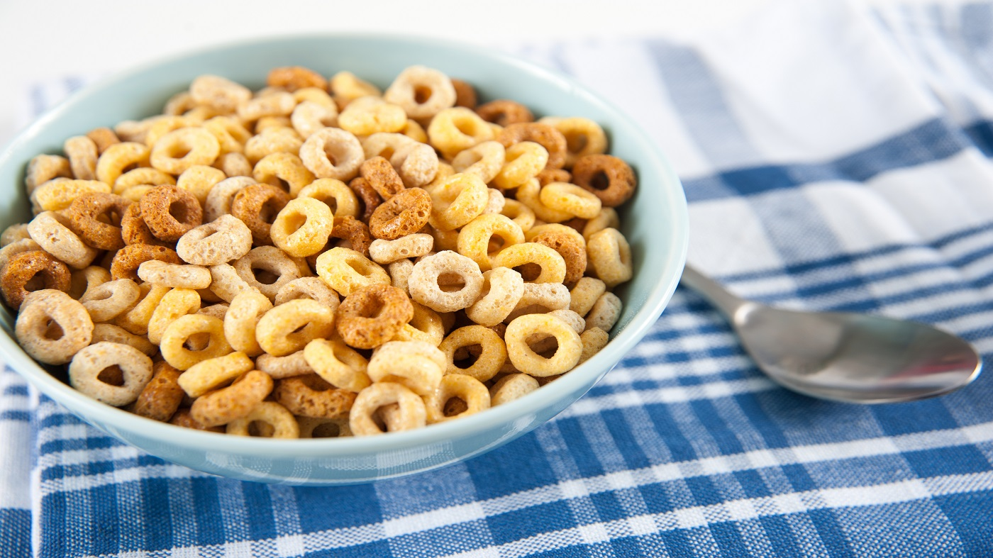 Glyphosate in Food -- bowl of oat o's cereal