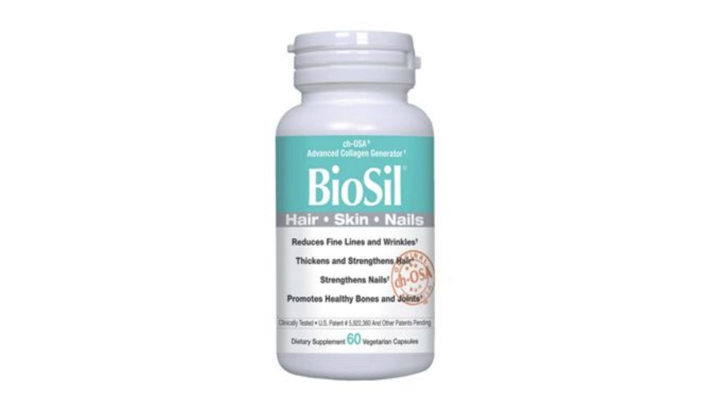 BioSil Review - bottle of BioSil for Hair, Skin and Nails