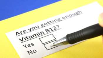 "Symptoms of B12 Deficiency -- paper with question ""Are you getting enough vitamin B12"" and boxes to check yes or no"