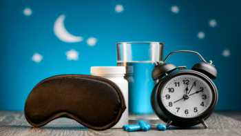 Effects of melatonin supplements on the body's own production of melatonin -- melatonin capsules, glass of water, eye mask