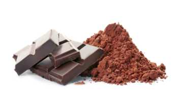 Can Cocoa and Chocolate Cause Kidney Stones? -- close-up of cocoa powder and dark chocolate bar